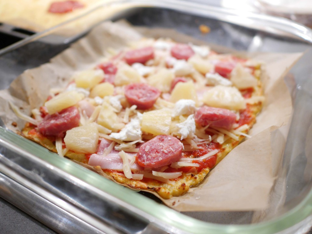 Glutenfri pizzabotten på blomkål