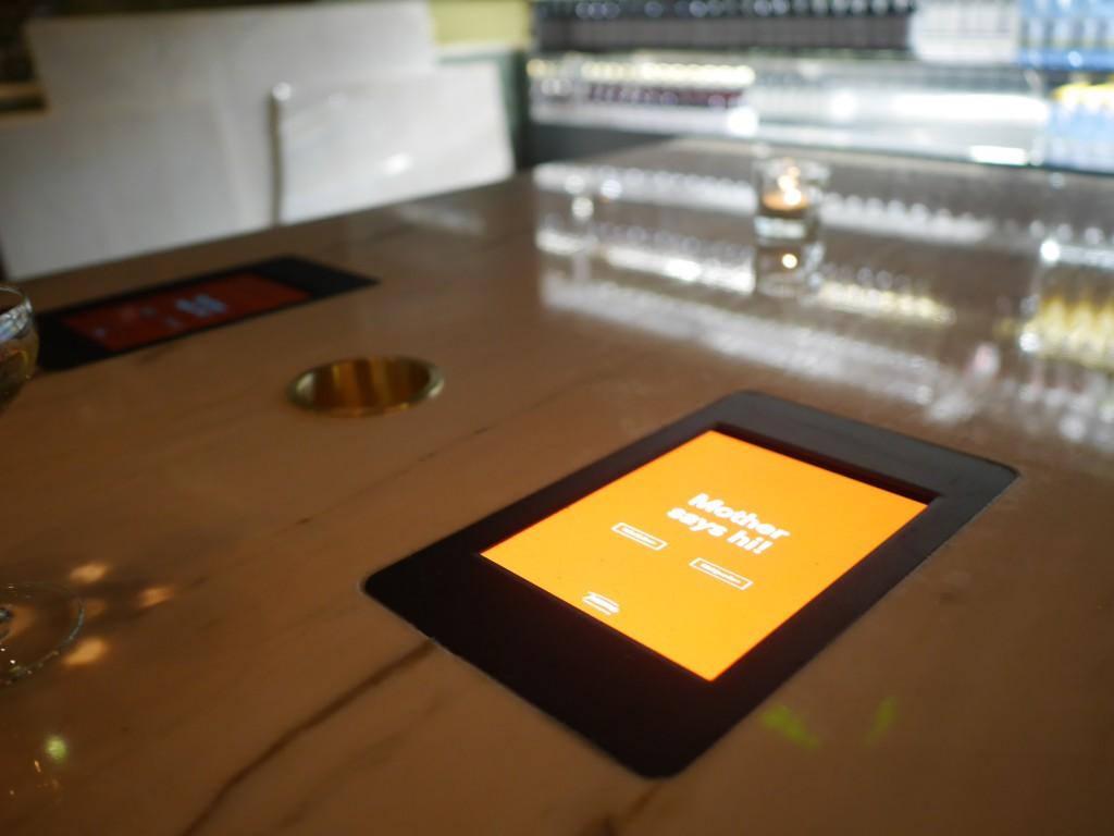 Touchscreen där man gör alla beställningar.
