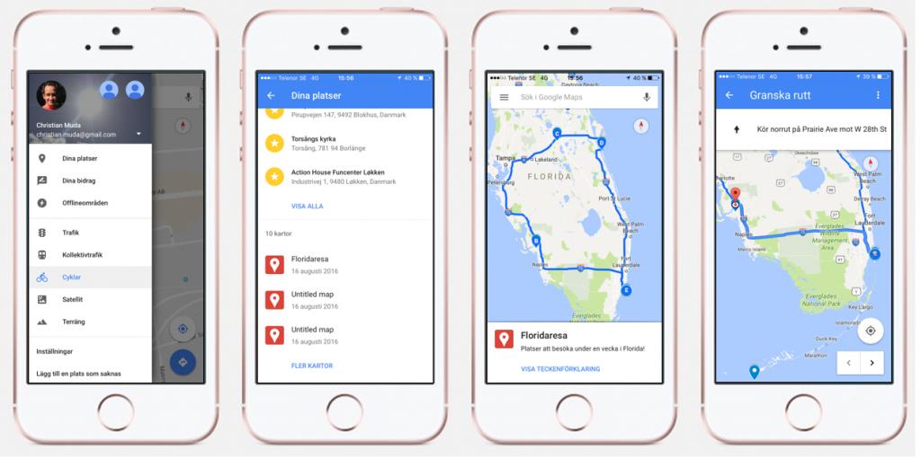 Planera resan med Google Maps