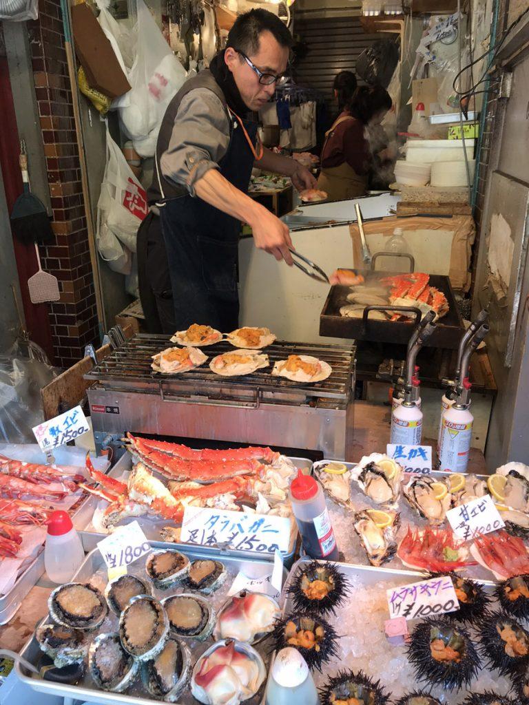 Marknaden åp Tokyos fiskmarknadTsukijiFishmarket