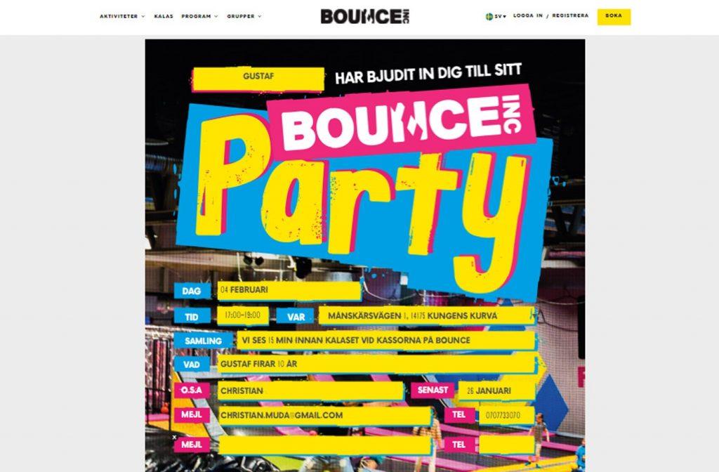 Kalas på Bounce Inbjudan