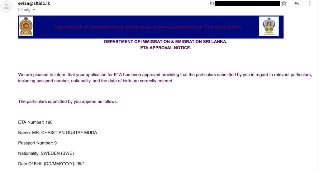 Gratis Visum till Sri Lanka
