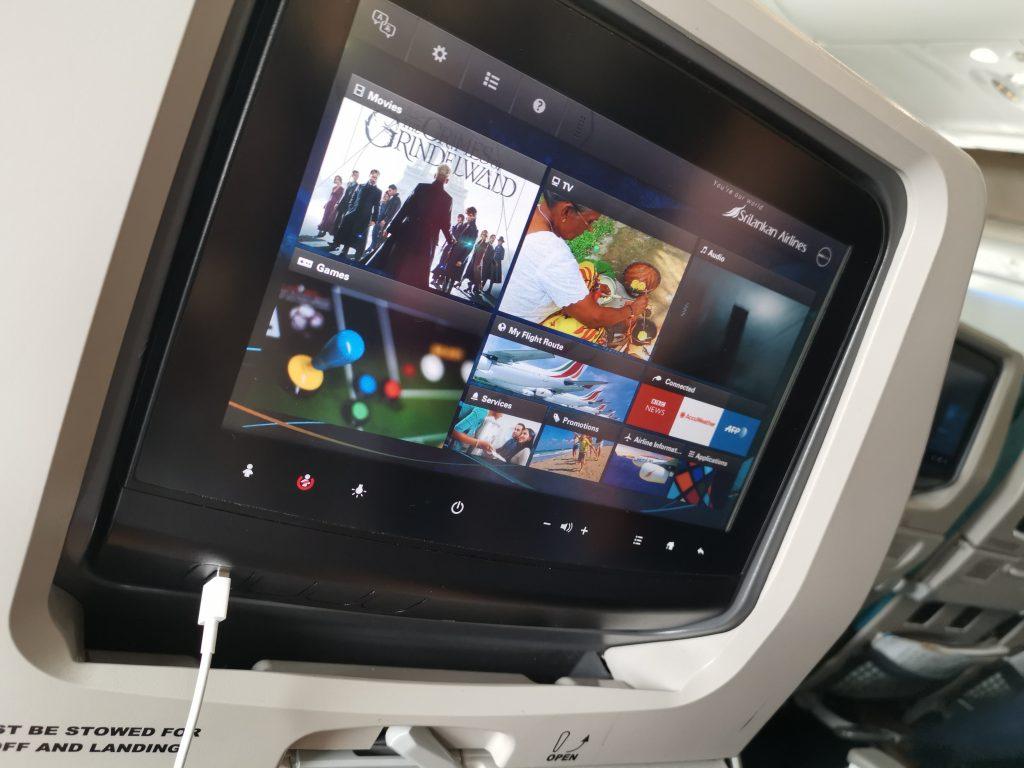 Komfort och underhållning ombord Sri Lankan air