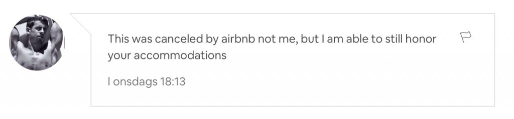 Avbokad AirBnb-lägenhet
