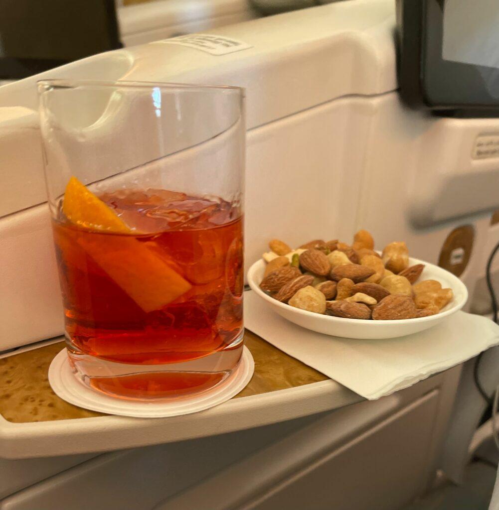 Mat och dryck i Emirates business class