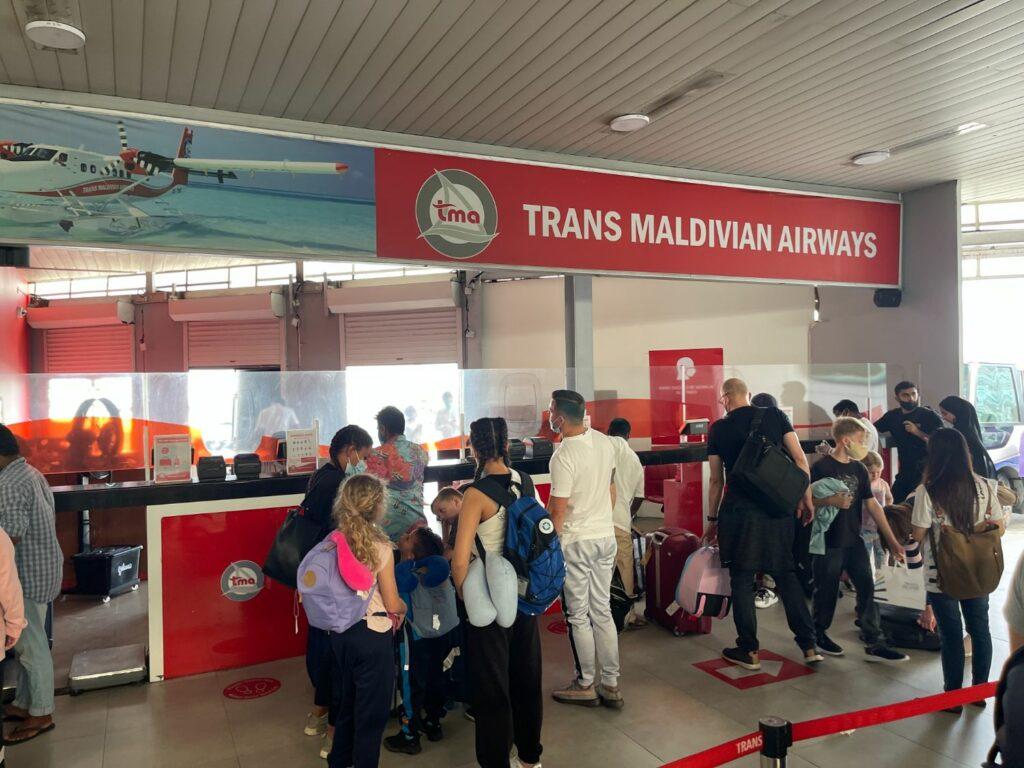 Sjöflygplan på Maldiverna incheck
