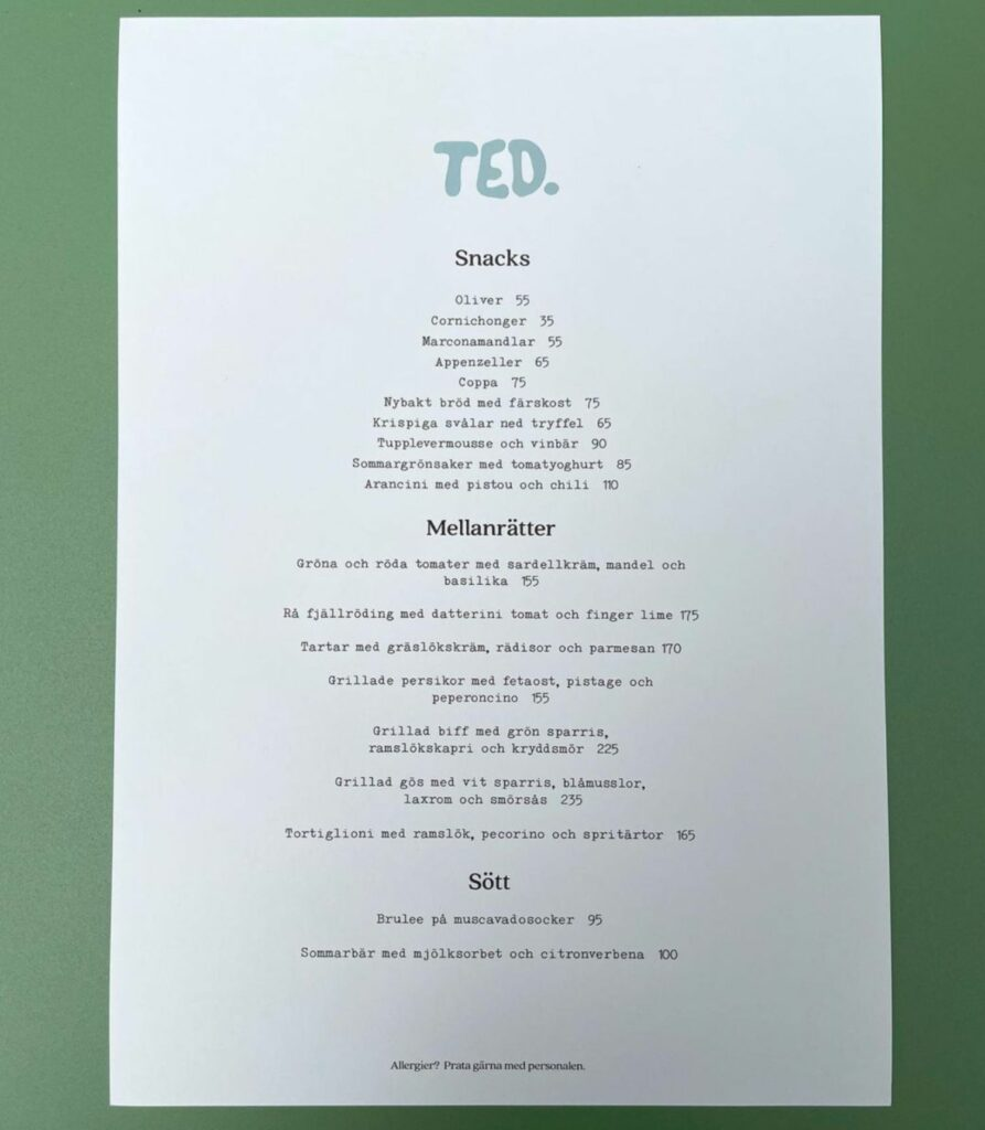Restaurang Ted Meny
